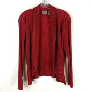 Chico's Travelers 2 Red Crinkle Cardigan
